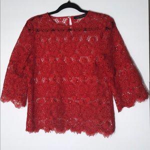 Zara small red crochet lace